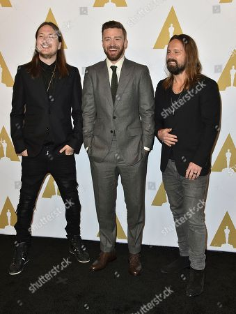 Shellback, from left, Justin Timberlake and Max Martin arrive at the 89th Academy Awards Nominees Luncheon at The Beverly Hilton Hotel, in Beverly Hills, Calif