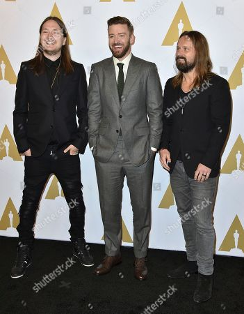 Stock Picture of Shellback, from left, Justin Timberlake and Max Martin arrive at the 89th Academy Awards Nominees Luncheon at The Beverly Hilton Hotel, in Beverly Hills, Calif