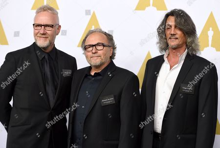 Christopher Nelson, from left, Alessandro Bertolazzi, and Giorgio Gregorini arrive at the 89th Academy Awards Nominees Luncheon at The Beverly Hilton Hotel, in Beverly Hills, Calif