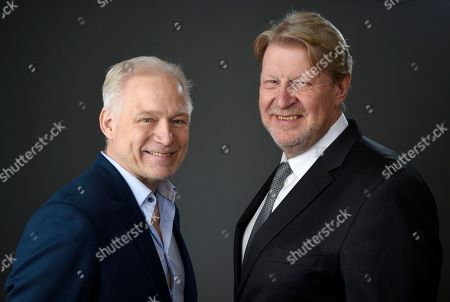 "Hannes Holm, left, and Rolf Lassgard pose for a portrait at the 89th Academy Awards Nominees Luncheon at The Beverly Hilton Hotel, in Beverly Hills, Calif. Their film, ""A Man Called Ove,"" is nominated for best foreign language film"