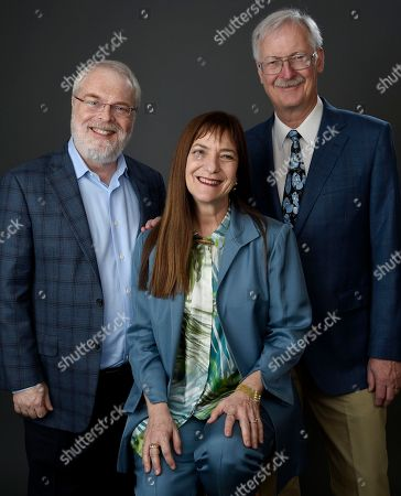 """Ron Clements, from left, Osnat Shurer, and John Musker pose for a portrait at the 89th Academy Awards Nominees Luncheon at The Beverly Hilton Hotel, in Beverly Hills, Calif. Their film, """"Moana,"""" is is nominated for best animated feature"""