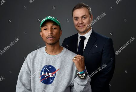 Pharrell Williams, left, and Theodore Melfi pose for a portrait at the 89th Academy Awards Nominees Luncheon at The Beverly Hilton Hotel, in Beverly Hills, Calif