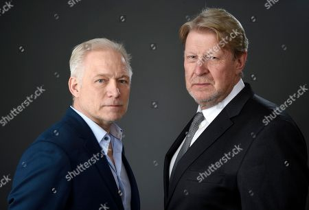 Hannes Holm, left, and Rolf Lassgard pose for a portrait at the 89th Academy Awards Nominees Luncheon at The Beverly Hilton Hotel, in Beverly Hills, Calif