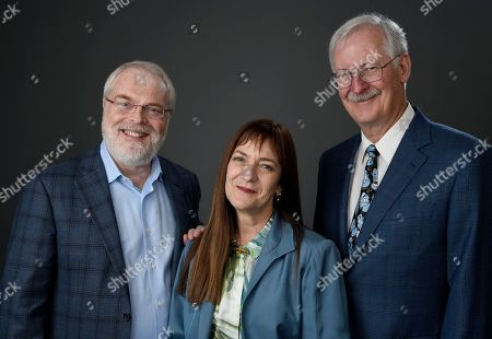 Ron Clements, from left, Osnat Shurer, and John Musker pose for a portrait at the 89th Academy Awards Nominees Luncheon at The Beverly Hilton Hotel, in Beverly Hills, Calif
