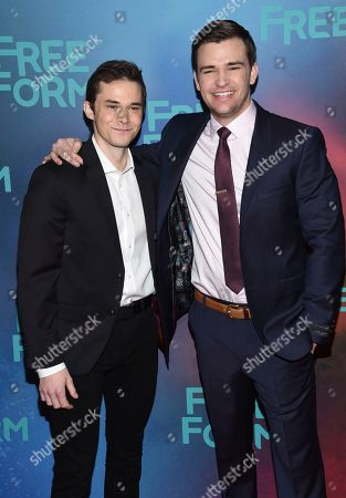 Jonathan Whitesell, left, and Burkely Duffield attend the ABC Freeform 2017 Upfront at the Hudson Mercantile, in New York