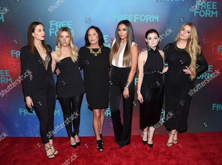 Troian Bellisario, left, Ashley Benson, I. Marlene King, Shay Mitchell, Lucy Hale and Sasha Pieterse attends the ABC Freeform 2017 Upfront at the Hudson Mercantile, in New York