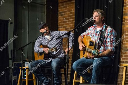 Ashley Gorley, left, and Darrell Worley seen at An Evening in the Songwriters Round benefiting the Tug McGraw Foundation at The Listening Room, in Nashville, Tenn