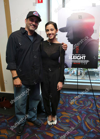 """Guy Gabriel and Seychelle Gabriel seen at a Special Screening of BH Tilt and WWE Studios' """"Sleight"""" at the Regal Cinemas at LA Live, in Los Angeles"""