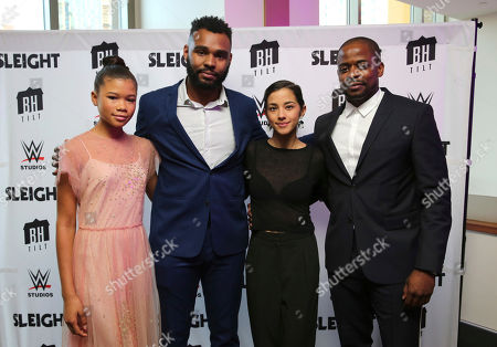 "Storm Reid, J.D. Dillard, Seychelle Gabriel and Dule Hill seen at a Special Screening of BH Tilt and WWE Studios' ""Sleight"" at the Regal Cinemas at LA Live, in Los Angeles"