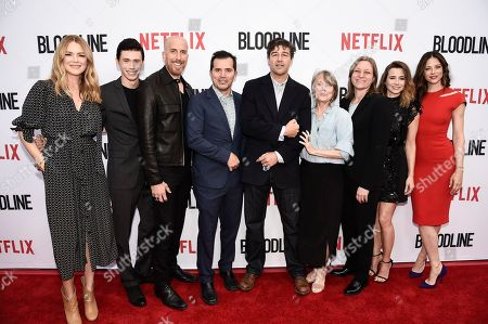 """From left to right, actress Jacinda Barrett, actor Owen Teague, executive producer and writer Todd Kessler, actor John Leguizamo, actor Kyle Chandler, actress Sissy Spacek, Netflix VP of Original Series Cindy Holland, actress Linda Cardellini, and actress Hani Avital seen at the Netflix special screening and FYC conversation for """"Bloodline"""" season 3 at the ArcLight Culver City on in Culver City, Calif"""