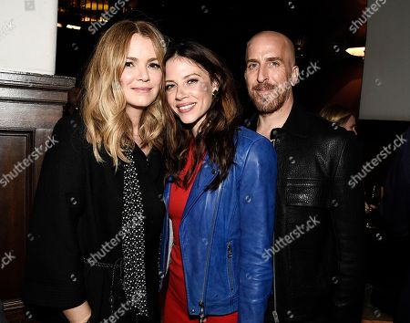 "Actress Jacinda Barrett, left, actress Hani Avital, and executive producer and writer Todd Kessler seen at the Netflix special screening and FYC conversation for ""Bloodline"" season 3 at the ArcLight Culver City on in Culver City, Calif"