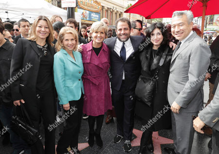 Veronika Kwan Vandenberg, President of Worldwide Distribution for Warner Bros. Pictures, Shari Redstone, Minister for Foreign Affairs The Hon Julie Bishop, Brett Ratner, Sue Kroll, President of Worldwide Marketing and International Distribution for Warner Bros. Pictures, and Kevin Tsujihara, Chairman and CEO of Warner Bros., seen at Brett Ratner honored with a star on the Hollywood Walk of Fame, in Los Angeles