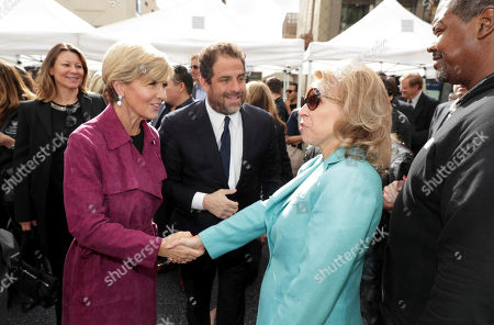 Minister for Foreign Affairs The Hon Julie Bishop, Brett Ratner and Shari Redstone seen at Brett Ratner honored with a star on the Hollywood Walk of Fame, in Los Angeles
