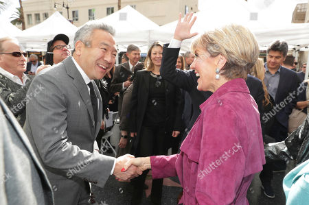 Kevin Tsujihara, Chairman and CEO of Warner Bros., and Minister for Foreign Affairs The Hon Julie Bishop MP seen at Brett Ratner honored with a star on the Hollywood Walk of Fame, in Los Angeles