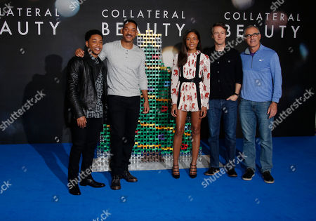 From left, actors Jacob Latimore, Will Smith, Naomie Harris, Ed Norton and director David Frankel pose for photographers during a photo call for the film 'Collateral Beauty' in London