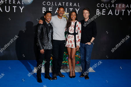 Actors from left, Jacob Latimore, Will Smith, Naomie Harris and Ed Norton pose for photographers during a photo call for the film 'Collateral Beauty' in London