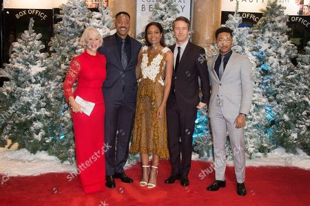 Actors from left, Helen Mirren, Will Smith, Naomie Harris, Ed Norton and Jacob Latimore pose for photographers upon arrival at the premiere of the film 'Collateral Beauty' in London