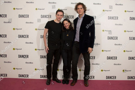 Ukrainian ballet dancer Sergei Polunin, from left, Producer Gabrielle Tana and Director Steven Cantor pose for photographers upon arrival at the premiere of Dancer in a central London theatre, . Polunin became the Royal balletâ?™s youngest ever principal, and the documentary examines the life and career of the ballet dancer from his early days in the Ukraine, to his performances in the United Kingdom, Russia and America