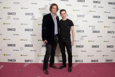Ukrainian ballet dancer Sergei Polunin, right and Director Steven Cantor poses for photographers upon arrival at the premiere of Dancer in a central London theatre, . Polunin became the Royal balletâ?™s youngest ever principal, and the documentary examines the life and career of the ballet dancer from his early days in the Ukraine, to his performances in the United Kingdom, Russia and America
