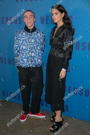Rocco Ritchie, left and model Kim Turnbull arrive for the Versus Versace Autumn/Winter 2017 show, as part of London Fashion Week