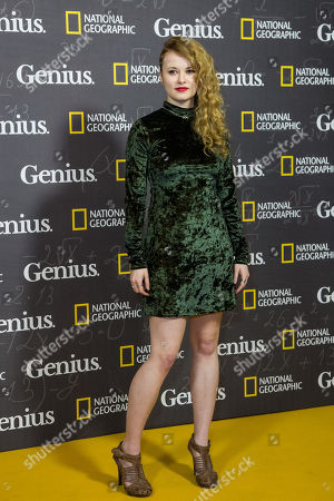 Shannon Tarbet poses for photographers upon arrival at the premiere of the film 'Genius', in London