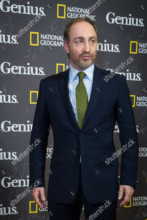 Michael McElhatton poses for photographers upon arrival at the premiere of the film 'Genius', in London