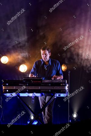 Keyboard player Gerrit Welmers performs with the group Future Islands at the Glastonbury music festival at Worthy Farm, in Somerset, England