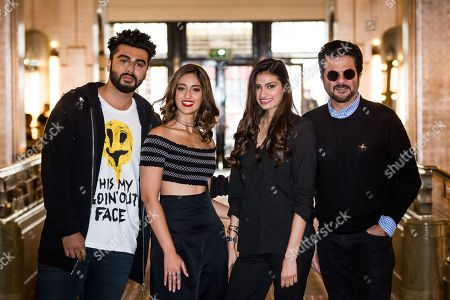 From left, actors Arjun Kapoor, Ileana D'Cruz, Athiya Shetty and Anil Kapoor pose for photographers during a photo call to promote the film 'Mubarakan', in London