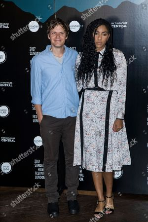 Stock Photo of Jim Strouse and Jessica Williams pose for photographers during a photo call to promote the opening of the Sundance Film Festival in London