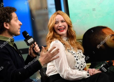 """Stock Image of Director Richie Keen and actress Christina Hendricks participates in the BUILD Speaker Series to discuss the film """"Fist Fight"""" at AOL Studios, in New York"""