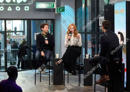 """Director Richie Keen, left, and actress Christina Hendricks participates in the BUILD Speaker Series to discuss the film """"Fist Fight"""" at AOL Studios, in New York"""