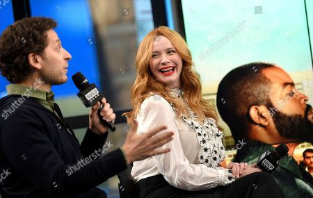"""Director Richie Keen, left, and actress Christina Hendricks participate in the BUILD Speaker Series to discuss the film """"Fist Fight"""" at AOL Studios, in New York"""
