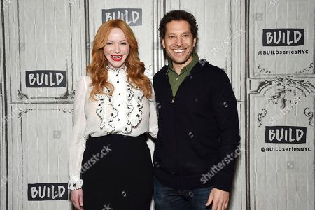 """Actress Christina Hendricks, left, and director Richie Keen participate in the BUILD Speaker Series to discuss the film """"Fist Fight"""" at AOL Studios, in New York"""