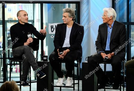 "Writer/director Joseph Cedar, left, actor Lior Ashkenazi and actor Richard Gere participate in the BUILD Speaker Series to discuss the film ""Norman"" at AOL Studios, in New York"