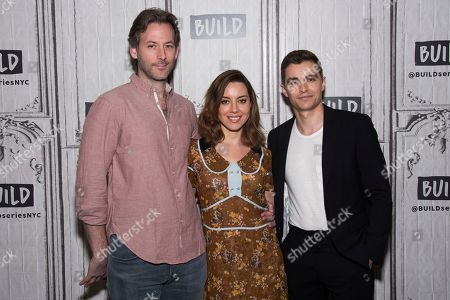 "Jeff Baena, left, Aubrey Plaza and Dave Franco participate in the BUILD Speaker Series to discuss the new film ""The Little Hours"" at AOL Studios, in New York"