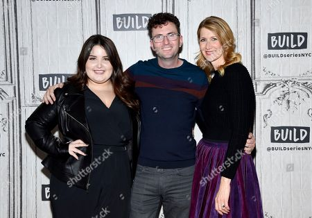 "Actress Isabella Amara, left, director Craig Johnson and actress Laura Dern participate in the BUILD Speaker Series to discuss the film ""Wilson"" at AOL Studios, in New York"