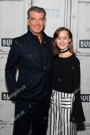 """Stock Image of Pierce Brosnan and Sydney Lucas participate in the BUILD Speaker Series to discuss the new AMC drama """"The Son"""" at AOL Studios, in New York"""