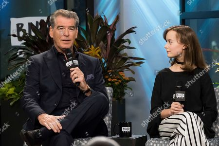 """Pierce Brosnan and Sydney Lucas participate in the BUILD Speaker Series to discuss the new AMC drama """"The Son"""" at AOL Studios, in New York"""