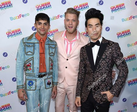 Mitch Grassi, from left, Scott Hoying and Eugene Lee Yang attend BuzzFeed's Inaugural Queer Prom at Siren Studios on in Los Angeles. The event honored every student's right to experience prom. BuzzFeed selected six high school students from across the country to join the festivities. Other guests included local LA area LGBT high school seniors, celebrities, performers, and advocates who will all be featured in a special BuzzFeed video series