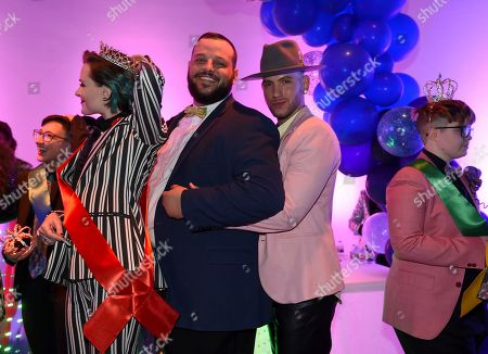 Evan Rachel Wood, from left, Daniel Franzese and Joseph Bradley Phillips attend BuzzFeed's Inaugural Queer Prom at Siren Studios on in Los Angeles. The event honored every student's right to experience prom. BuzzFeed selected six high school students from across the country to join the festivities. Other guests included local LA area LGBT high school seniors, celebrities, performers, and advocates who will all be featured in a special BuzzFeed video series