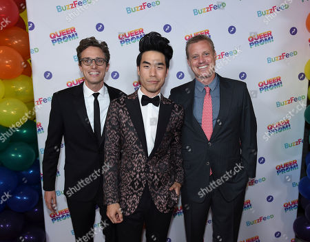 Jonah Peretti, from left, Eugene Lee Yang, and Ze Frank attend BuzzFeed's Inaugural Queer Prom at Siren Studios on in Los Angeles. The event honored every student's right to experience prom. BuzzFeed selected six high school students from across the country to join the festivities. Other guests included local LA area LGBT high school seniors, celebrities, performers, and advocates who will all be featured in a special BuzzFeed video series