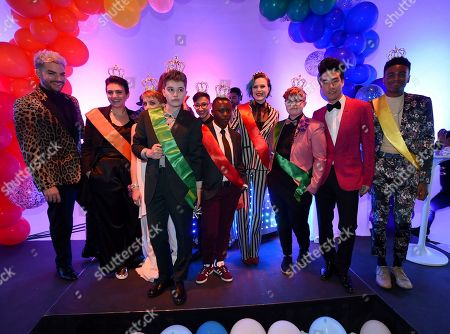 Adam Lambert, left, Evan Rachel Wood, center, Eugene Lee Yang, second from left, and the prom court attend BuzzFeed's Inaugural Queer Prom at Siren Studios on in Los Angeles. The event honored every student's right to experience prom. BuzzFeed selected six high school students from across the country to join the festivities. Other guests included local LA area LGBT high school seniors, celebrities, performers, and advocates who will all be featured in a special BuzzFeed video series