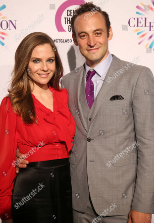 Stock Image of Shannon Lucio, left, and Charlie Hofheimer arrive at the Center Theatre Group 50th Anniversary event, in Los Angeles