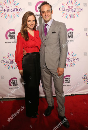 Shannon Lucio, left, and Charlie Hofheimer arrive at the Center Theatre Group 50th Anniversary event, in Los Angeles