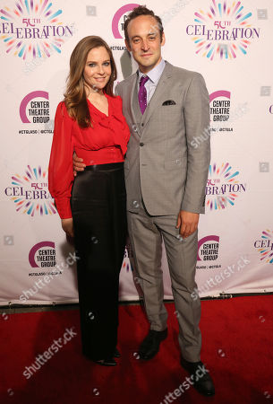 Stock Photo of Shannon Lucio, left, and Charlie Hofheimer arrive at the Center Theatre Group 50th Anniversary event, in Los Angeles
