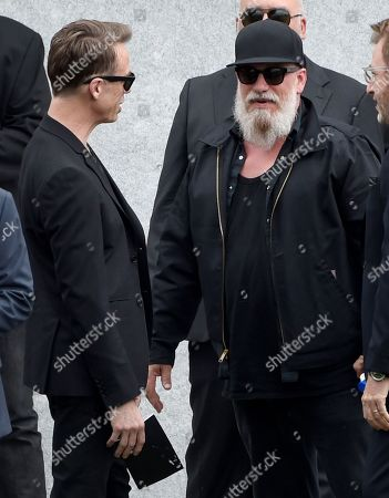 Stock Photo of Matt Cameron, left, and Kim Thayil, of Soundgarden, attend a funeral for Chris Cornell at the Hollywood Forever Cemetery, in Los Angeles