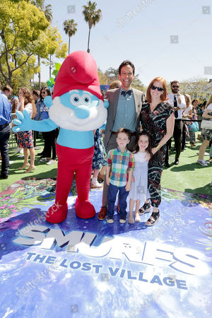 """Danny Pudi, James Timothy Pudi, Fiona Leigh Pudi and Bridget Showalter Pudi seen at Columbia Pictures and Sony Pictures Animation Present the World Premiere of """"Smurfs: The Lost Village"""" at ArcLight Culver City, in Culver City, Calif"""
