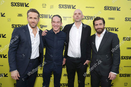 """Ryan Reynolds, Director Daniel Espinosa, Composer Jon Ekstrand and Jake Gyllenhaal seen at Columbia Pictures World Premiere of """"Life"""" the movie at SXSW 2017, in Austin, TX"""