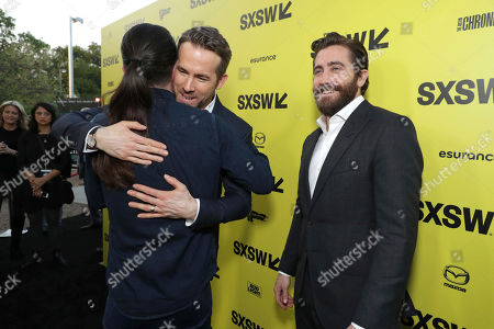 """Ryan Reynolds, Director Daniel Espinosa and Jake Gyllenhaal seen at Columbia Pictures World Premiere of """"Life"""" the movie at SXSW 2017, in Austin, TX"""