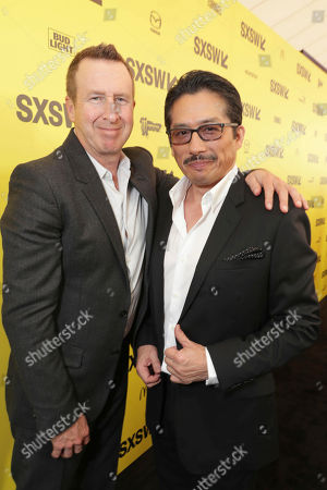 "Stock Image of Jordan Kerner and Hiroyuki Sanada seen at Columbia Pictures World Premiere of ""Life"" the movie at SXSW 2017, in Austin, TX"